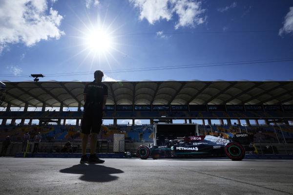 Sir Lewis Hamilton, Mercedes W12, leaves the garage