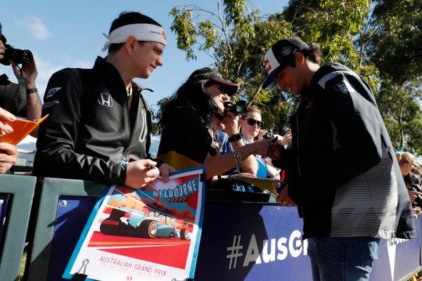 Albert Park, Melbourne, Australia. Wednesday 22 March 2017. Carlos Sainz Jr, Toro Rosso.  World Copyright: Zak Mauger/LAT Images ref: Digital Image _W6I0153