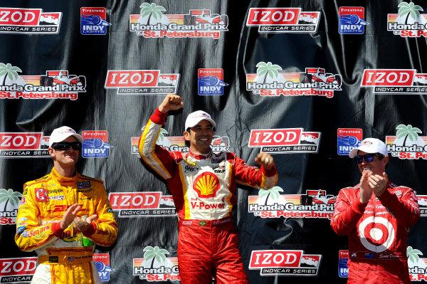 Podium (L to R): Ryan Hunter-Reay (USA) Andretti Autosport, Helio Castroneves (BRA) Team Penske and Scott Dixon (NZL) Chip Ganassi Racing. Indycar Series, Rd1, Honda Grand Prix of St. Petersburg, St. Petersburg, Florida, USA, 24-26 March 2012.