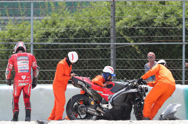 Danilo Petrucci, Ducati Team after crash.