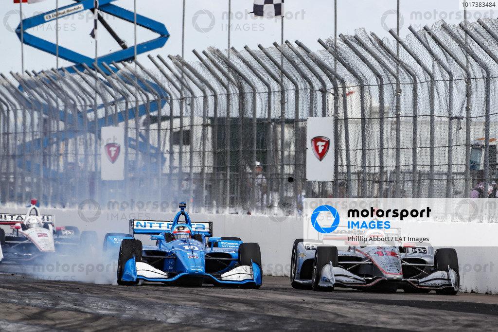 Felix Rosenqvist, Chip Ganassi Racing Honda passes Will Power, Team Penske Chevrolet