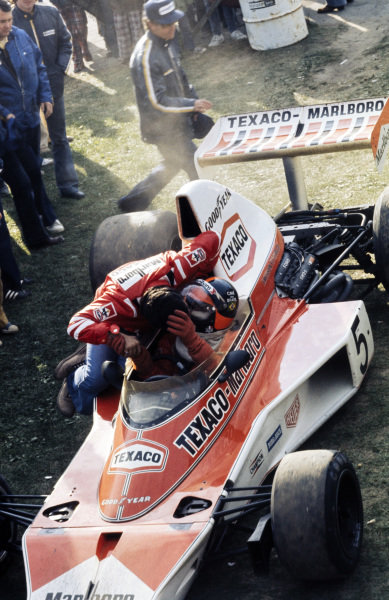 Emerson Fittipaldi is congratulated on his victory.