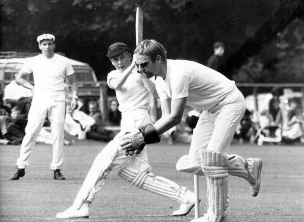 Racing drivers cricket match.