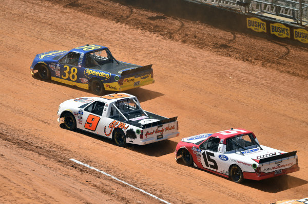 #38: Todd Gilliland, Front Row Motorsports, Ford F-150 Speedco, #9: Codie Rohrbaugh, CR7 Motorsports, Chevrolet Silverado Grant County Mulch, #15: Tanner Gray, Team DGR, Ford F-150 Ford Performance