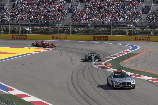 Safety car leads the field at Formula One World Championship, Rd4, Russian Grand Prix, Race, Sochi Autodrom, Sochi, Krasnodar Krai, Russia, Sunday 30 April 2017.