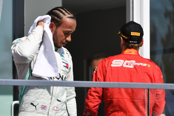 Lewis Hamilton, Mercedes AMG F1, and Sebastian Vettel, Ferrari