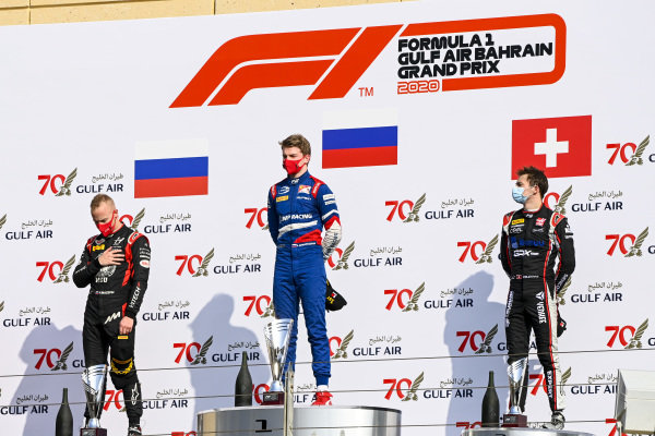 Nikita Mazepin (RUS, HITECH GRAND PRIX), Race Winner Robert Shwartzman (RUS, PREMA RACING) and Louis Deletraz (CHE, CHAROUZ RACING SYSTEM) on the podium