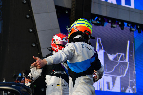 Alexander Sims (GBR) BMW I Andretti Motorsports, celebrates in Parc Ferme
