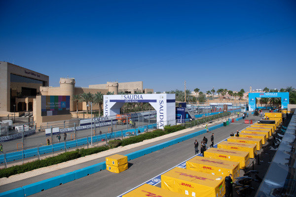FIA ABB Formula E start line with freight crates
