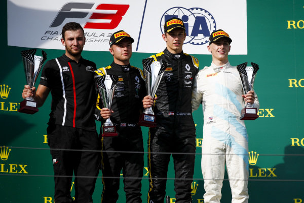 HUNGARORING, HUNGARY - AUGUST 03: Max Fewtrell (GBR) ART Grand Prix, Race winner Christian Lundgaard (DNK) ART Grand Prix and Jake Hughes (GBR) HWA RACELAB on the podium with the trophy during the Hungaroring at Hungaroring on August 03, 2019 in Hungaroring, Hungary. (Photo by Joe Portlock / LAT Images / FIA F3 Championship)