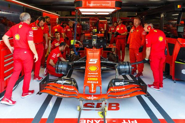 Sebastian Vettel, Ferrari SF90, in the garage