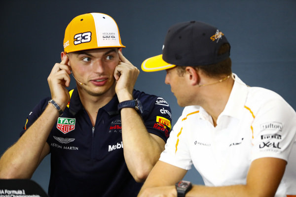 Max Verstappen, Red Bull Racing, and Stoffel Vandoorne, McLaren, in the Thursday press conference.