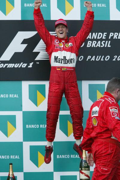 2002 Brazilian Grand Prix - Sunday RaceInterlagos, Sao Paulo. 31st March 2002Race winner Michael Schumacher, Ferrari F2002, leaps in the air.World Copyright - LAT Photographicref: 12 5mb Digital File Only