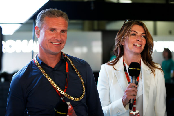 Shanghai International Circuit, Shanghai, China. Sunday 12 April 2015. Davis Coulthard, Commentator, BBC Sport F1, and Suzi Perry, Presenter, BBC Sport F1. World Copyright: Alastair Staley/LAT Photographic. ref: Digital Image _R6T3089