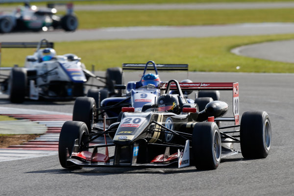 FIA F3 European Championship - Round 1, Race 3. Silverstone, Northamptonshire, UK 10th - 12th April 2015 20 Dorian Boccolacci (FRA, Signature, Dallara F312 – Volkswagen), 9 Tatiana Calderón (COL, Carlin, Dallara F312 – Volkswagen), 23 Sérgio Sette Câmara (BRA, Motopark, Dallara F312 – Volkswagen). Copyright Free FOR EDITORIAL USE ONLY. Mandatory Credit: FIA F3. ref: Digital Image FIAF3-1428842366