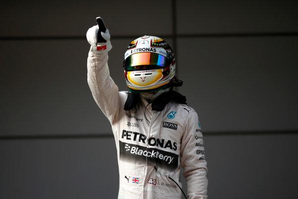 Shanghai International Circuit, Shanghai, China. Saturday 11 April 2015. Pole starter Lewis Hamilton, Mercedes AMG. World Copyright: Andrew Hone/LAT Photographic. ref: Digital Image _ONZ1650
