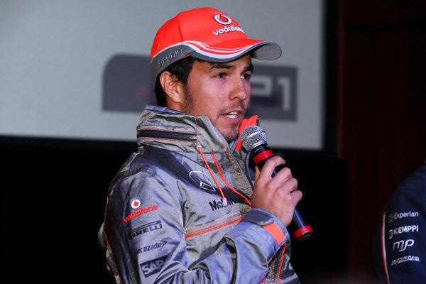 Sergio Perez (MEX) McLaren, at the FOTA Austin Fans Forum. FOTA Austin Fans Forum, Cedar Street Courtyard, Austin, Texas, Wednesday 13 November 2013.