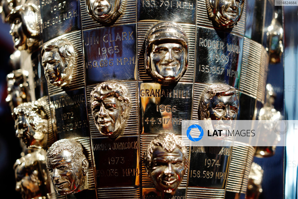 Verizon IndyCar Series  Indianapolis 500 Race Indianapolis Motor Speedway, Indianapolis, IN USA  Thursday 25 May 2017. The Borg Warner trophy. World Copyright: Steven Tee/LAT Images ref: Digital Image _R3I5339