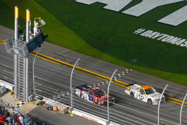 2017 Camping World Truck - NextEra Energy Resources 250 Daytona International Speedway, Daytona Beach, FL USA Friday 24 February 2017 Kaz Grala drives under the checkered flag to win World Copyright: Russell LaBounty/LAT Images ref: Digital Image 17DAY2rl_05795