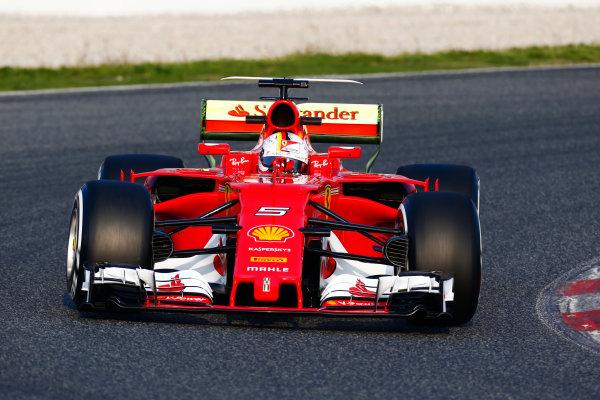 Circuit de Barcelona Catalunya, Barcelona, Spain. Monday 27 February 2017. Sebastian Vettel, Ferrari.  World Copyright: Zak Mauger/LAT Images ref: Digital Image _L0U9718