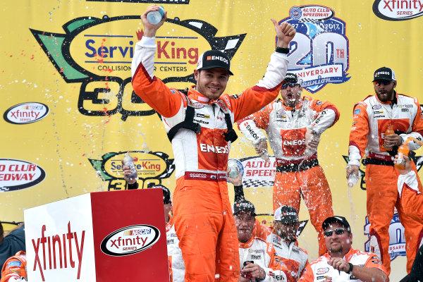 2017 NASCAR Xfinity Series Service King 300 Auto Club Speedway, Fontana, CA USA Saturday 25 March 2017 Kyle Larson celebrates in victory lane  World Copyright: Rusty Jarrett/LAT Images ref: Digital Image _RJ45714A