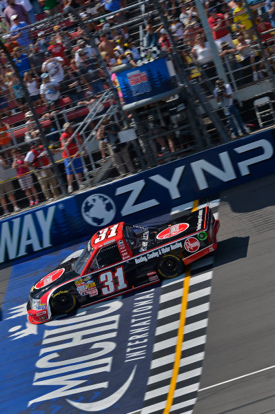 August 16-17, 2013, Brooklyn, Michigan USA James Buescher takes the checkered flag © 2013, Brian Czobat LAT Photo USA