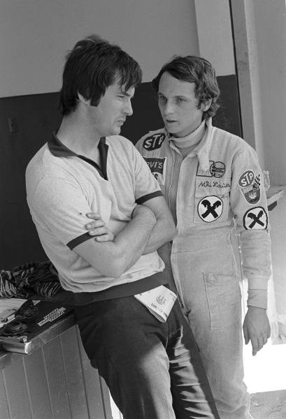 March designer Robin Herd(GBR) left,  and Niki Lauda(AUT)