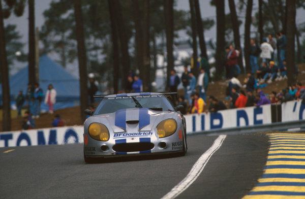 1995 Le Mans 24 Hours. Le Mans, France. 17th - 18th June 1995. Enrico Bertaggia/Johnny Unser/Frank Jelinski (Callaway Corvette), 9th position, action.  World Copyright: LAT Photographic. Ref:  95LM37