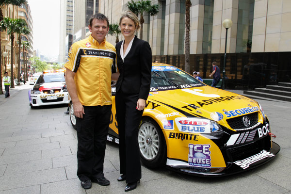 Homebush Street Circuit, Sydney, New South Wales.4th - 5th December 2010.Jason Bright of Brad Jones Racing with the Premier of NSW, Kristina Keneally after driving his V8 Supercar down George Street in the lead up to the Sydney Telstra 500 Grand Finale.World Copyright: Mark Horsburgh/LAT Photographicref: Digital Image V8Supercars00012