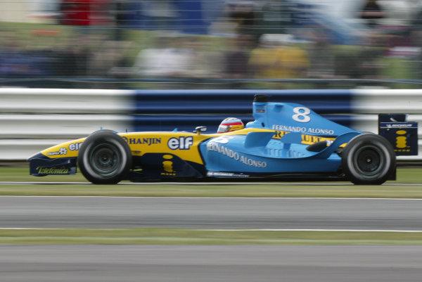 2004 British Grand Prix - Friday Practice,Silverstone, Britain. 09th July 2004.Fernando Alonso (Renault R24).World Copyright: Steve Etherington/LAT Photographic ref: Digital Image Only
