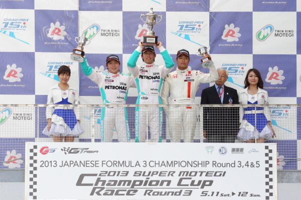 Motegi, Japan. 11th - 12th 2013. Rd 2. Race 2 - Winner  Yuichi Nakayama ( #36 PETRONAS TEAM TOM'S ) 2nd position Takamoto Katsuata ( #37 PETRONAS TEAM TOM'S ) 3rd position Nobuharu Matsushita ( #7 HFDP  RACING ) podium, portrait. World Copyright: Yasushi Ishihara/LAT Photographic Ref: 2013JF3_Rd4_05