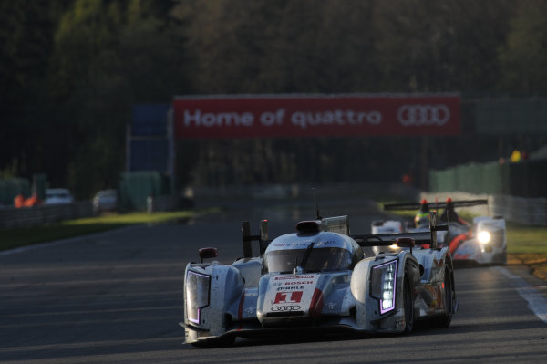 2013 FIA World Endurance Championship, Spa Franchorchamps, Belgium. 3rd-3th May 2013, Andre Lotterer / Benoit Treluyer / Marcel Fassler Audi R18 e-tron quattro World Copyright. Ebrey/LAT Photographic