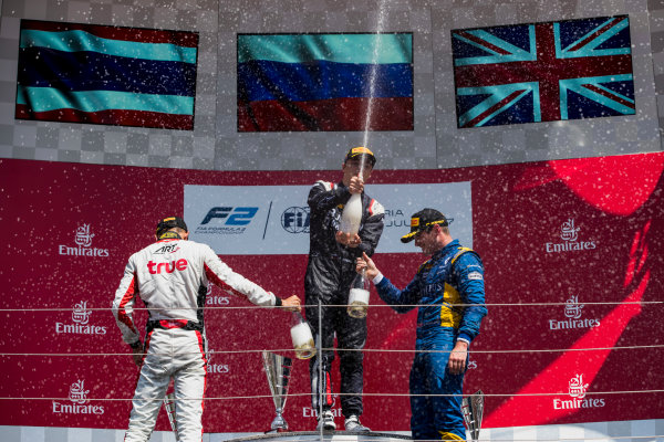 2017 FIA Formula 2 Round 5. Red Bull Ring, Spielberg, Austria. Sunday 9 July 2017. Alexander Albon (THA, ART Grand Prix), Artem Markelov (RUS, RUSSIAN TIME) and Oliver Rowland (GBR, DAMS).  Photo: Zak Mauger/FIA Formula 2. ref: Digital Image _54I0416