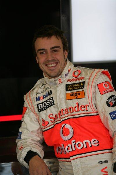 2007 British Grand Prix - Saturday QualifyingSilverstone, Northamptonshire, England.7th July 2007.Fernando Alonso, McLaren MP4-22 Mercedes. Portrait. World Copyright: Steven Tee/LAT Photographicref: Digital Image YY2Z5474