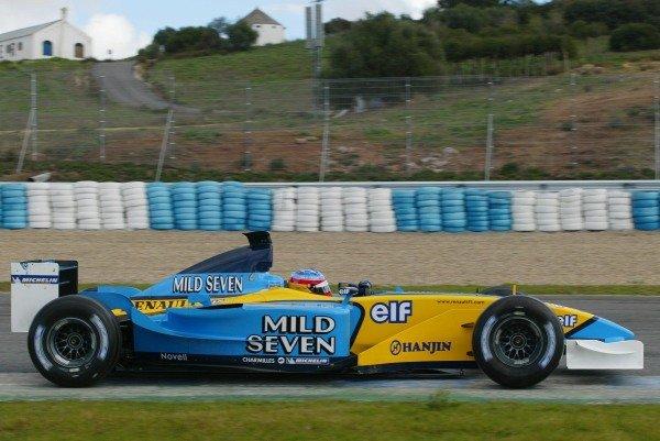 Fernando Alonso (ESP) Renault R02 Formula One Testing , 12 - 15 December 2002Jerez, Spain.DIGITAL IMAGE