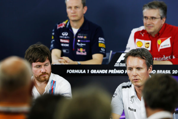 Interlagos, Sao Paulo, Brazil. Friday 7 November 2014. Rob Smedley, Head of Vehicle Performance, Williams F1, and Sam Michael, Sporting Director, McLaren, in the Team Principals Press Conference. World Copyright: Charles Coates/LAT Photographic. ref: Digital Image _J5R2956