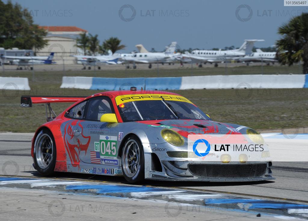 14-19 March 2011. Sebring, Florida USA#045 Flying Lizard Motorsports Porsche 911 GT3 RSR©2011 Dan R. Boyd LAT Photo USA