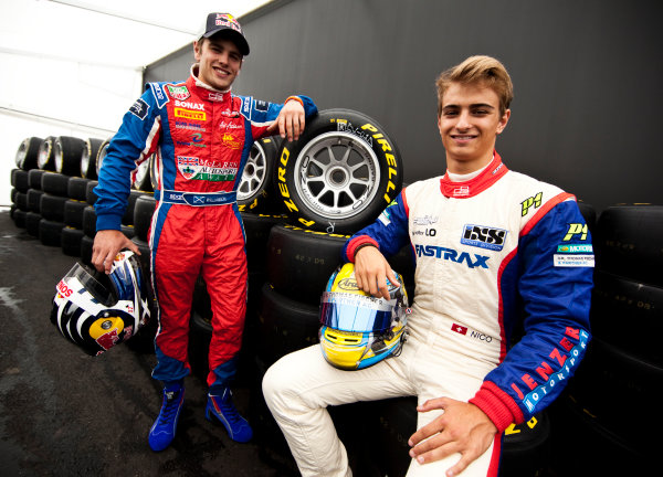 Round 5. Nurburgring, Germany. 21st July 2011.Thursday Preview. Nico Muller, (SUI, Jenzer Motorsport) and Lewis Williamson, (GBR, MW Arden), winners of races 7 and 8 at round 4 in Silverstone. Portrait. Photo: Drew Gibson/GP3 Media Service.  ref: Digital Image DG5D5676