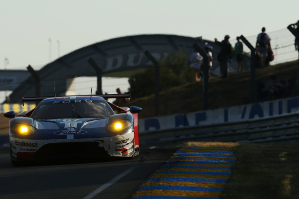 2017 Le Mans 24 Hours Circuit de la Sarthe, Le Mans, France. Wednesday 14 June 2017 #67 Ford Chip Ganassi Team UK  Ford GT: Andy Priaulx, Harry Tincknell, Pipo Derani  World Copyright: JEP/LAT Images