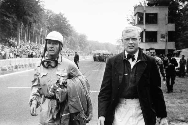 1953 Grand Prix de Rouen. Rouen-les-Essarts, France. 28 June 1953. Giuseppe Farina and Mike Hawthorn (both Ferrari 500). They finished in 1st and 2nd position respectively, portrait. World Copyright: LAT Photographic Ref: Autosport b&w print. Published: Autosport 3/7/1953, p9