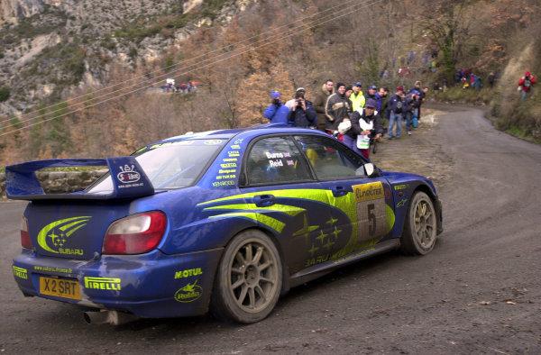 2001 World Rally Championship. Monte Carlo Rally,  Monaco. 18th -21st January 2001. Rd 1. Richard Burns on Stage 3 of Day One. World Copyright: Ralph Hardwick/ LAT Photographic. Ref: Burns2