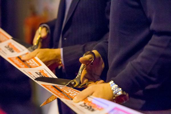 Autosport International Exhibition. National Exhibition Centre, Birmingham, UK. Thursday 8 January 2015. Petter Solberg and Malcolm Wilson open the show. World Copyright: Zak Mauger/LAT Photographic. ref: Digital Image _L0U2355