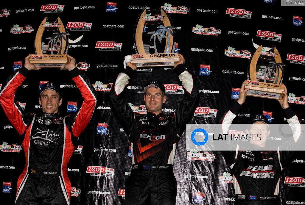 26-28 March, 2010, St. Petersburg, Florida, USAWilson, Power and Briscoe on the podium©2010, Michael L. Levitt, USALAT Photographic