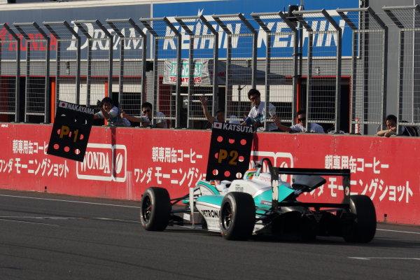Motegi, Japan. 11th - 12th 2013. Rd 2. Race 3 - Winner  Yuichi Nakayama ( #36 PETRONAS TEAM TOM'S ) action World Copyright: Yasushi Ishihara/LAT Photographic Ref: 2013JF3_Rd5_07