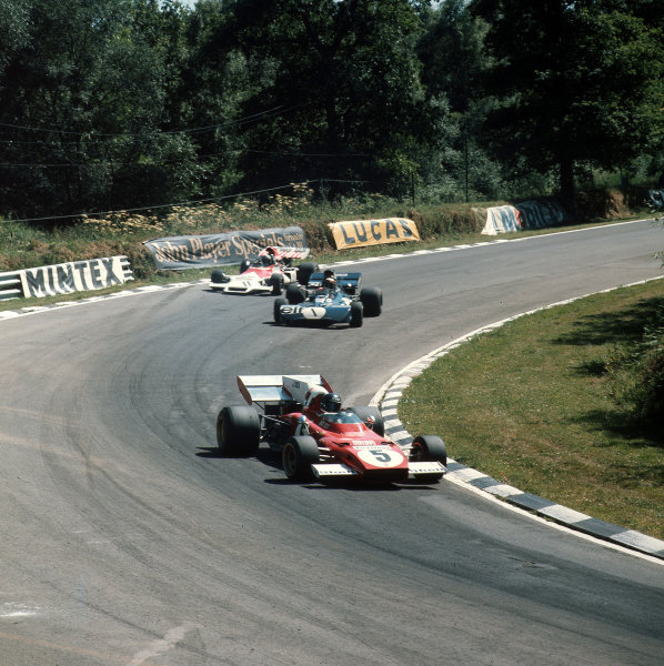 Brands Hatch, England. 13-15 July 1972.Jacky Ickx (Ferrari 312B2) leads Jackie Stewart (Tyrrell 003 Ford) and Jean-Pierre Beltoise (BRM P160C). Stewart finished in 2nd position. Ref-3/5100I.World Copyright - LAT Photographic
