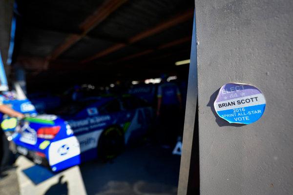 Monster Energy NASCAR Cup Series Apache Warrior 400 Dover International Speedway, Dover, DE USA Friday 29 September 2017 Brian Scott sticker World Copyright: Logan Whitton LAT Images