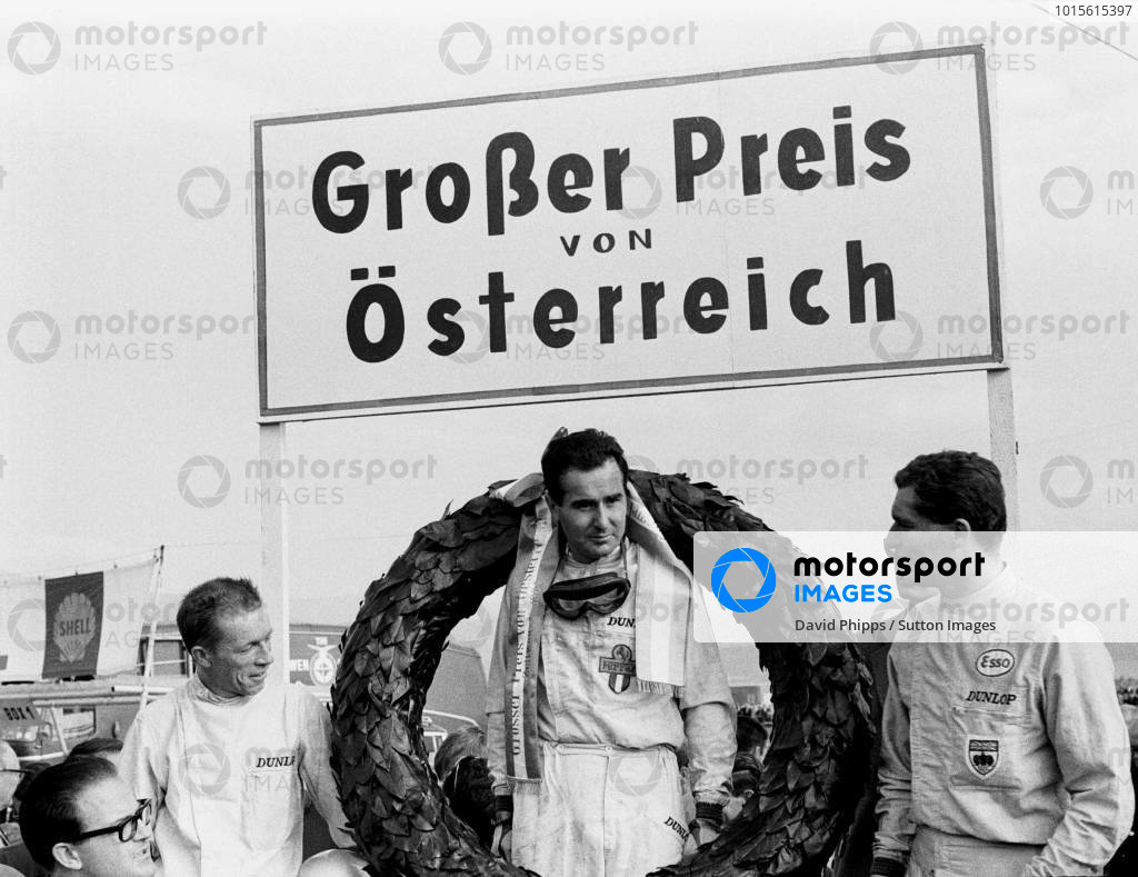 Austrian GP, Zeltweg 30 May 1964  L to R:  Ritchie Ginther(2nd) BRM P261, Winner Lorenzo Bandini Ferrari 156 and Bob Anderson(3rd) Brabham BT11