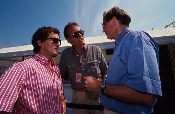 L to R; Alain Prost, Gerd Kremer of Mercedes and John Watson. German Grand Prix, Hockenheim, 26 July 1992