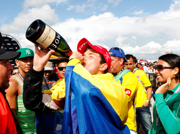 20-21 July, 2012, Edmonton, Alberta CACarlos Munoz celebrates in victory lane.(c)2012, Phillip AbbottLAT Photo USA