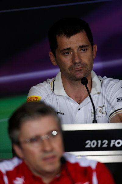 Yas Marina Circuit, Abu Dhabi, United Arab Emirates Friday 2nd November 2012. Tony Cuquerella, Team Principal, HRT, in the Press Conference.  World Copyright:Charles Coates/  ref: Digital Image _N7T1431
